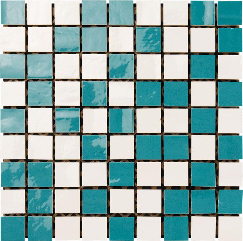 mosaico 30x30 bianco / acquamarina