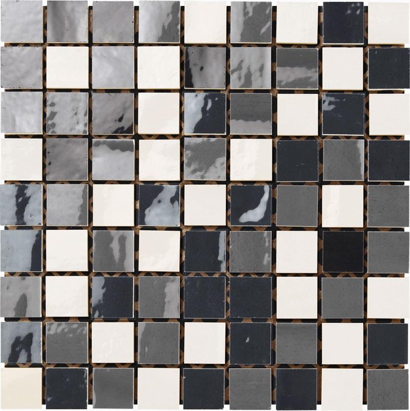 mosaico 30x30 bianco / antracite / fumo
