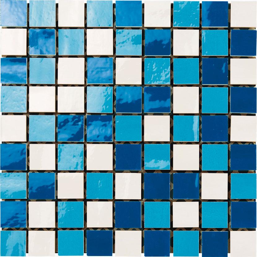 mosaico 30x30 bianco / azzurro / blu